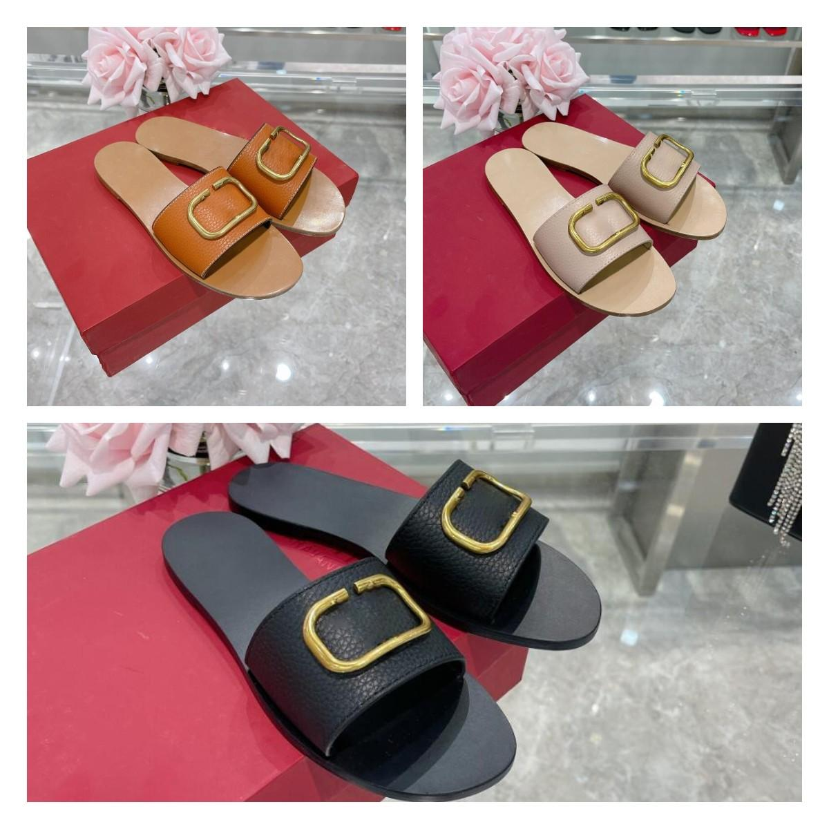2021 Luxury Designer Women Slipper Metallic VLogo Signature trim grained cowhide 0.5 cm leather slippers sandals vintage classic Top quality with box size 35-40