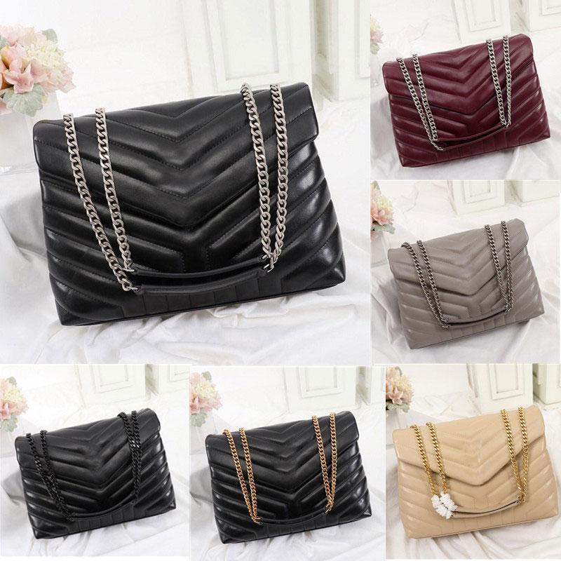 Top Quality real leather bags messenger designer handbags LOULOU stripe square fat Metal chain bag womens handbag large-capacity Buckles shoulder bagss Luxury box