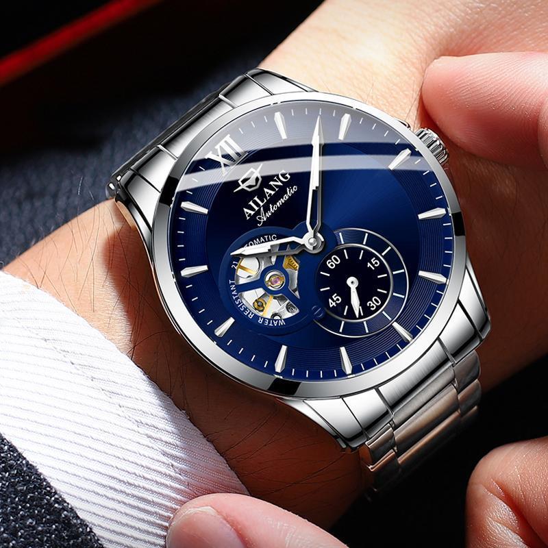 Montres-bracelets Ailang 2021 Lumineux Montre automatique Mâle Mécanique Mécanique Acier inoxydable Mens Montres Bleu Relogio Masculino