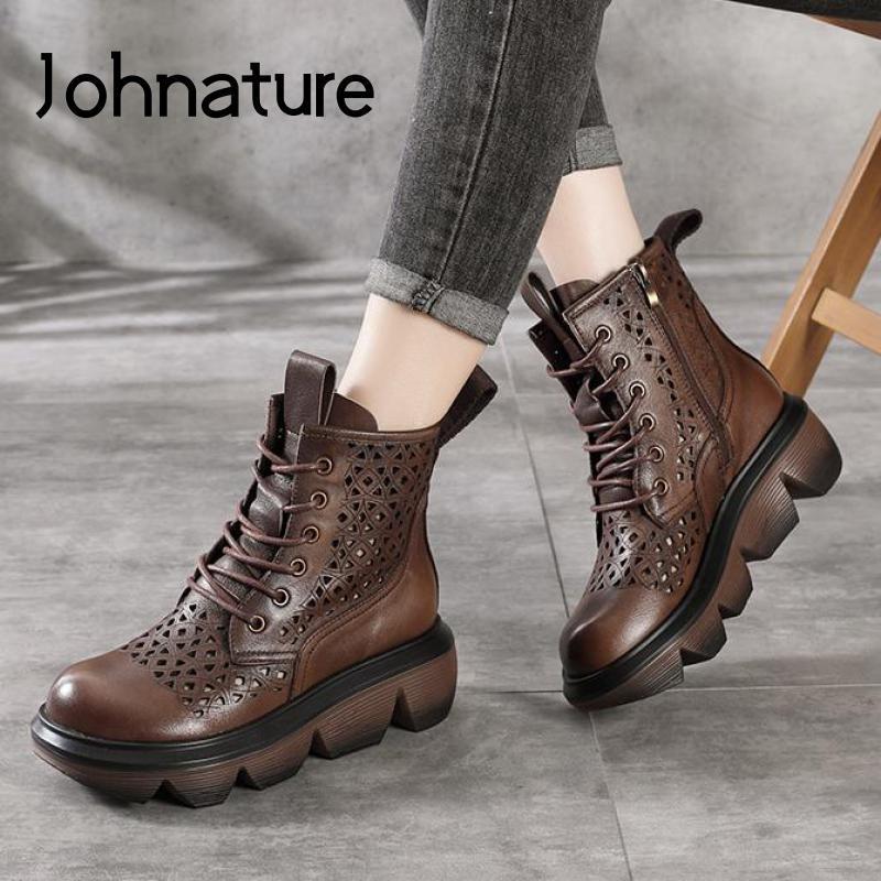 Johnature Ретро натуральные кожаные женские сандалии 2021 новая летняя обувь Zip ручной работы лаконичная платформа на шнуровке платформы женские сандалии