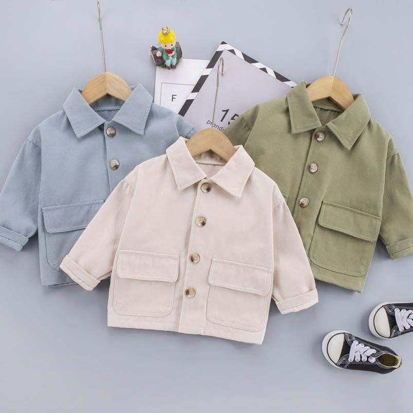 Baby Shirts Garçons Manteau Vestes en bas âge Spring Automne Coton à manches longues Boyes Housses Enfants Vêtements Enfants Manteau 0 4Y B3962
