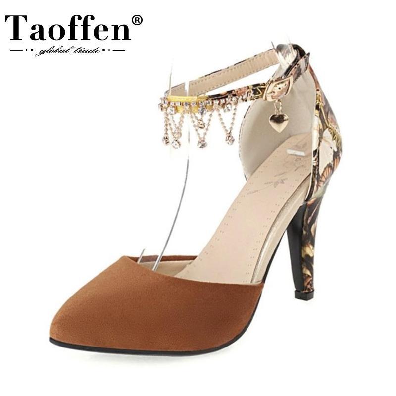 Сандалии TaOffen размер 34-43 женщины мода пряжка ремешок цепь сексуальный высокий каблук летняя обувь женщина вечеринка офисная леди ежедневная обувь