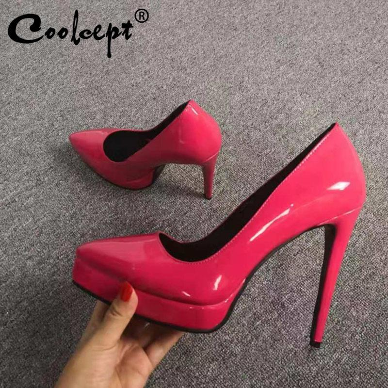 Kleid Schuhe Coolcept Office Damen Pumps spitz Zehe Slip auf dünnen High Heels Feste Farbplattform Hochzeit Frauen Schuhe Größe 35-47