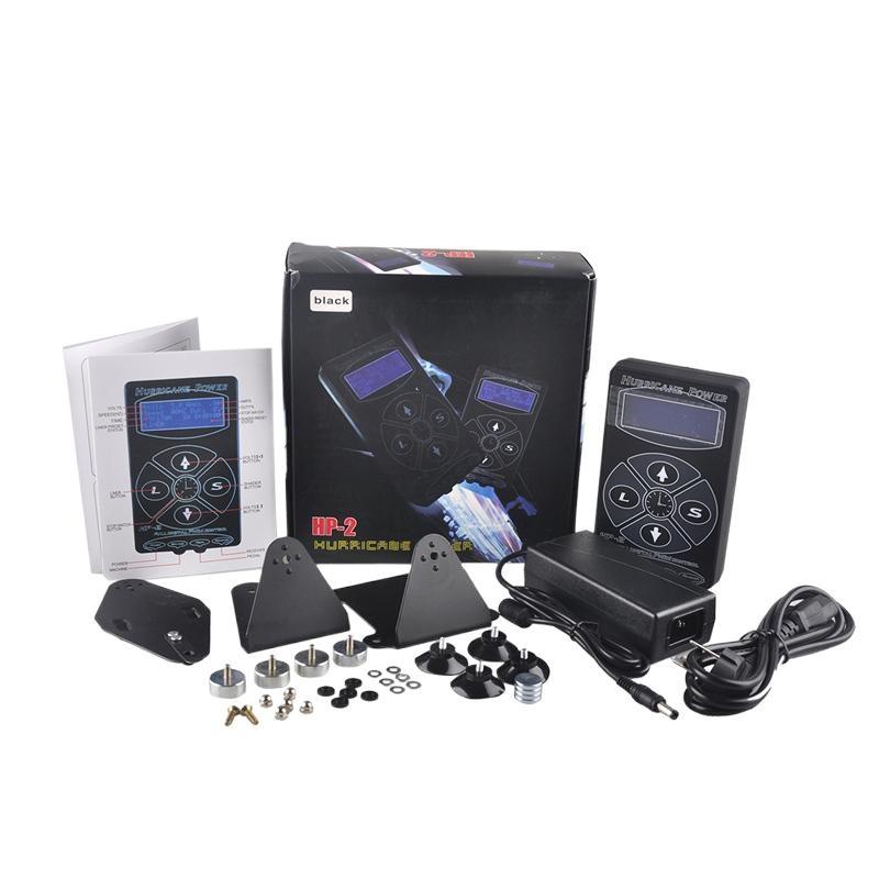 Huracán Tattoo Power Supply HP-2 Negro Digital LCD Pantalla Tattoo Power Fuente de alimentación para tatuaje Kit de cordón de clip