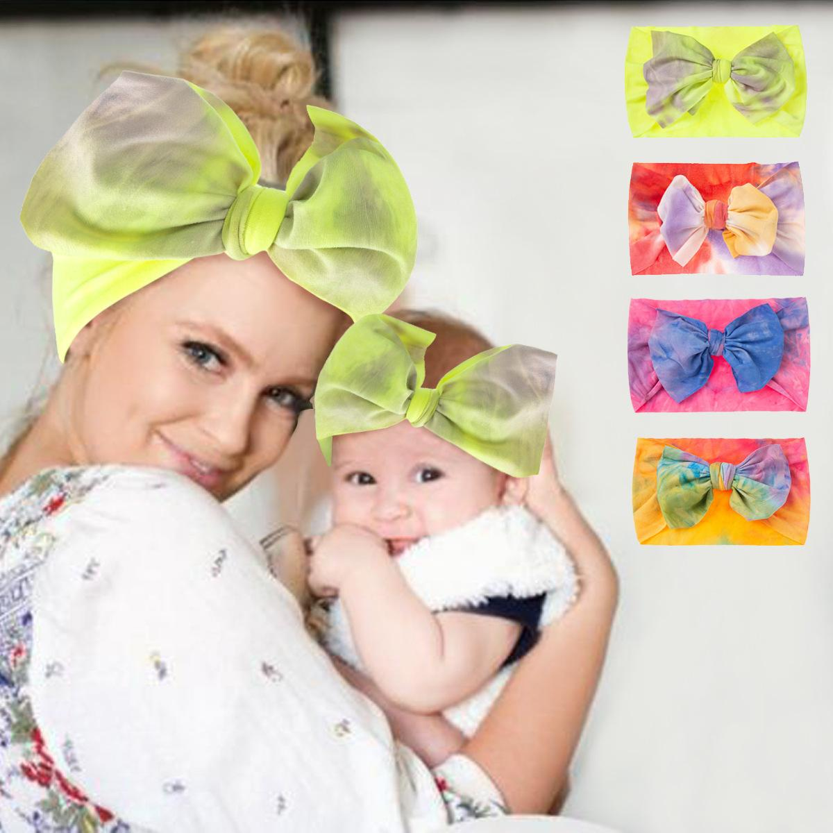 Free DHL 2pcs/set Parent-child Mom and Baby Bow Hair Band Accessories Soft Elastic Turban Hairband Infant Toddler Photography Props Mother Child