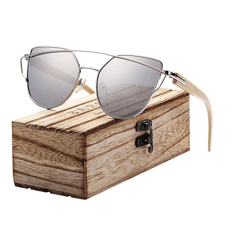 Barcur Cat Eye Gafas de sol Bambú Polarizado Marco de metal Gafas de madera Lady Luxury Moda Sun Shades UV400