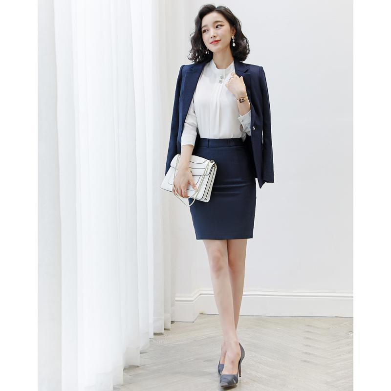 Два куска платье элегантные женщины юбка костюмы офиса леди деловая одежда носить мода 2 блейзер набор осень формальная женщина плюс размер S-4XL
