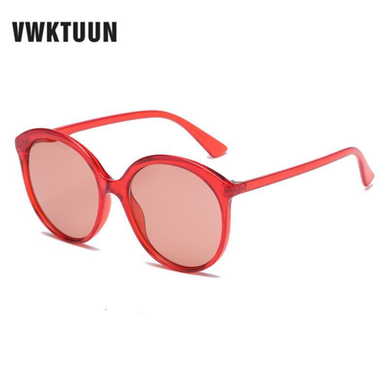 Солнцезащитные очки Vwktuun круглые женщины негабаритные очки для леди для леди дизайнерские очки UV400 старинные женские красные оттенки точек