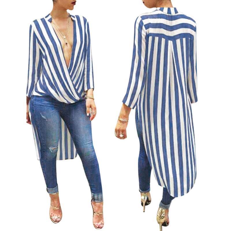 Elegant Autumn Long Sleeve Blouse Deep V Neck Striped Shirt Long Ladies Office Shirts Button Casual Streetwear Blusas Female