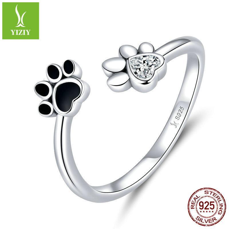 Nuevo lindo PET PAW PRINT 925 Puro para la moda de las mujeres DIY Silver Anillo SCR605