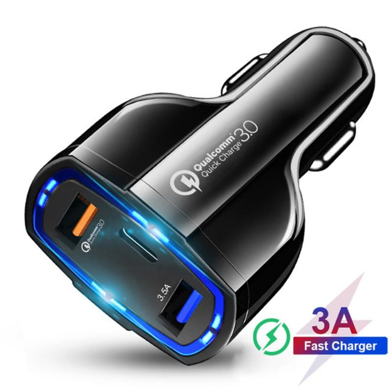 35W 7A 3 포트 자동차 전화 충전기 어댑터 유형 -C USB QC3.0 QUALCOMM 빠른 3.0 기술