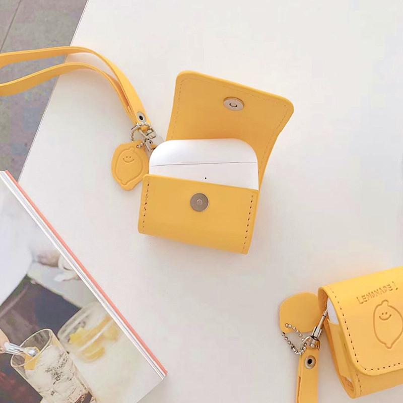 Leather Airpods Pro Case For Apple Airpods 2 Bluetooth Earphone Charging Box Bag Lemon Pattern Headphone imitation leather Cover