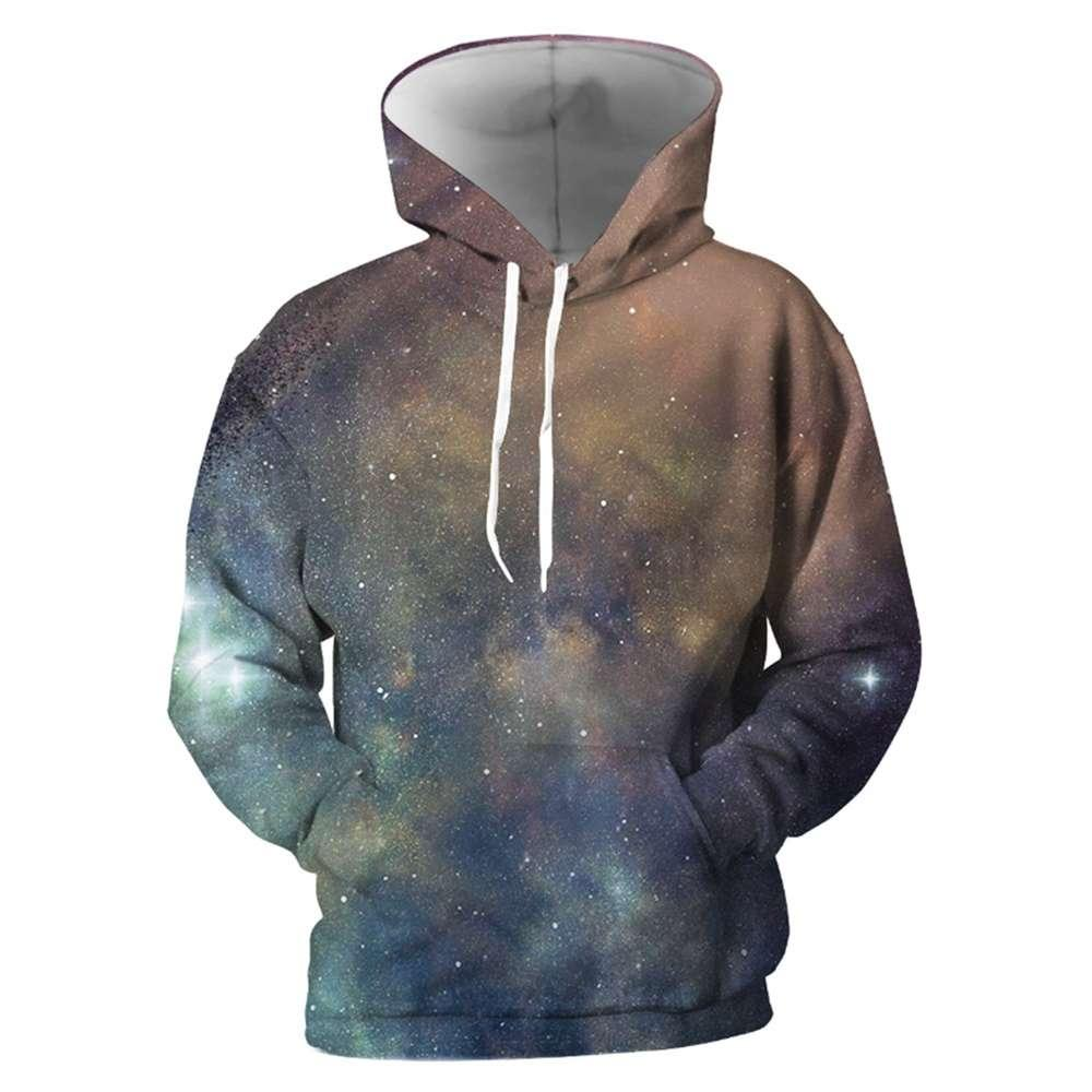 Youthup New Sudaderas con capucha Hombres Abrigos Galaxia 3D Impreso Sudadera con capucha Sudadera con capucha Hoody Plussize Fanshion Tops Outwear