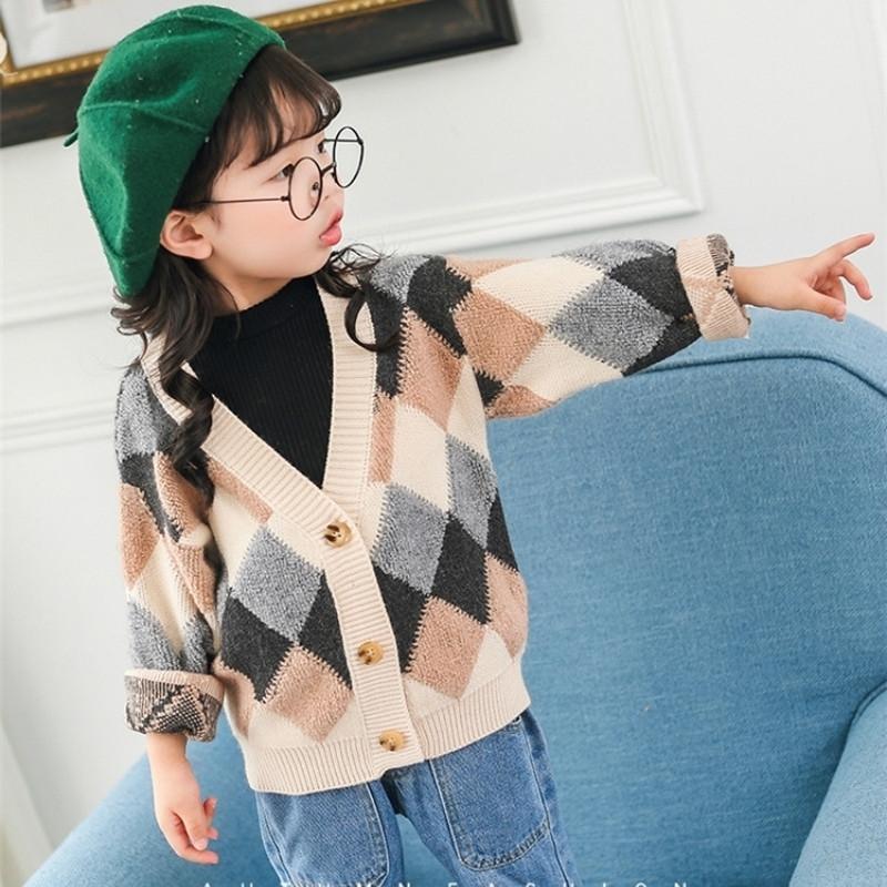 Клетки детские мальчики девушки свитера v шеи детей кардиган свитера вязаные дети свитер малыша девушки свитер зимняя одежда мальчики 210202