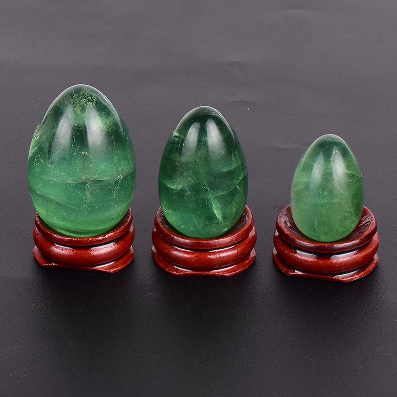Bohrte Natürliche Fluorit Jade Egg Yoni Egg Massage Steine Für Kegel Übungskörper Massagepflegewerkzeuge