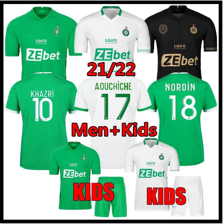 2021 Maillot de pé como santos-étienne futebol jerseys homem kit kit youssouf 21 22 st etienne khazri boudebouz aholou asse 2022 camisa de futebol