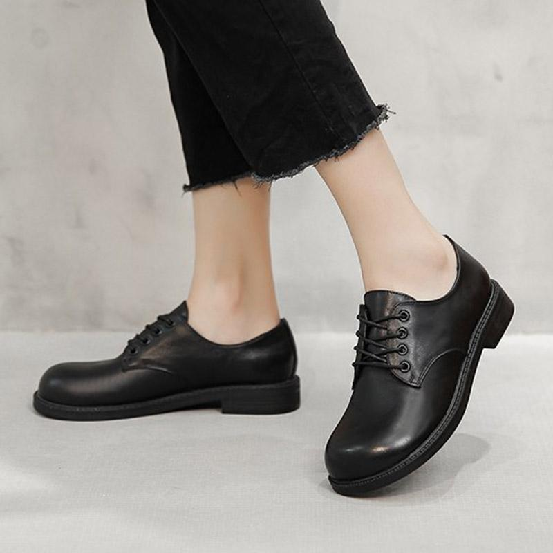 Kadınlar Oxfod Ayakkabı Yuvarlak Toe Lace Up Deri Ayakkabı Siyah Lolita Ayakkabı Düşük Topuklu Brogue Mujer Bahar Sonbahar 8807N
