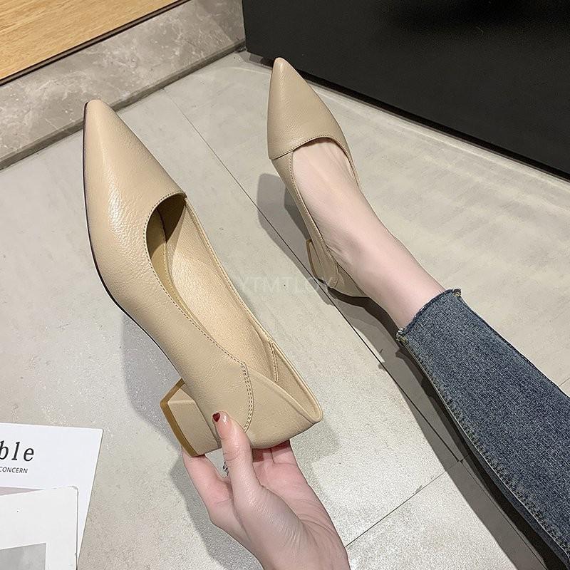 Обувь платье 2021 Толстые заостренные с высокими каблуками Мода мода Wild Woment Удобная работа Toe Zapatos de Mujer Plataforma