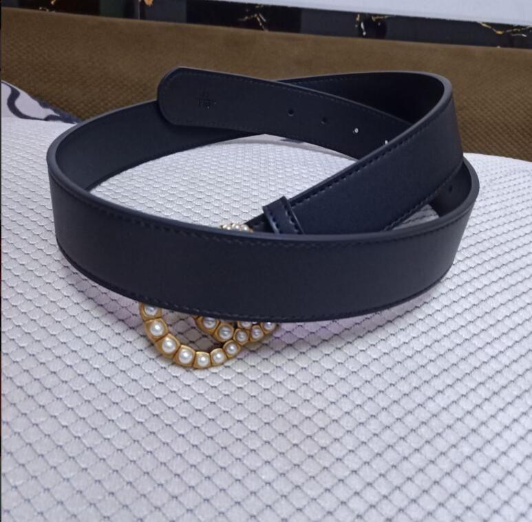 Популярный стиль высококачественный модный женский ремень, жемчуг большая золотая кнопка двойной кожи 3.8см черный пояс белой коробки