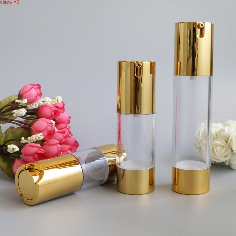 15 ml 50 ml Altın Şeffaf Havasız Pompa Kozmetik Şişe Seyahat Mini Losyon Krem Şişeleri Vakum Banyo Kapları Konteynerleri 10 adet / Lothigh Qualtity
