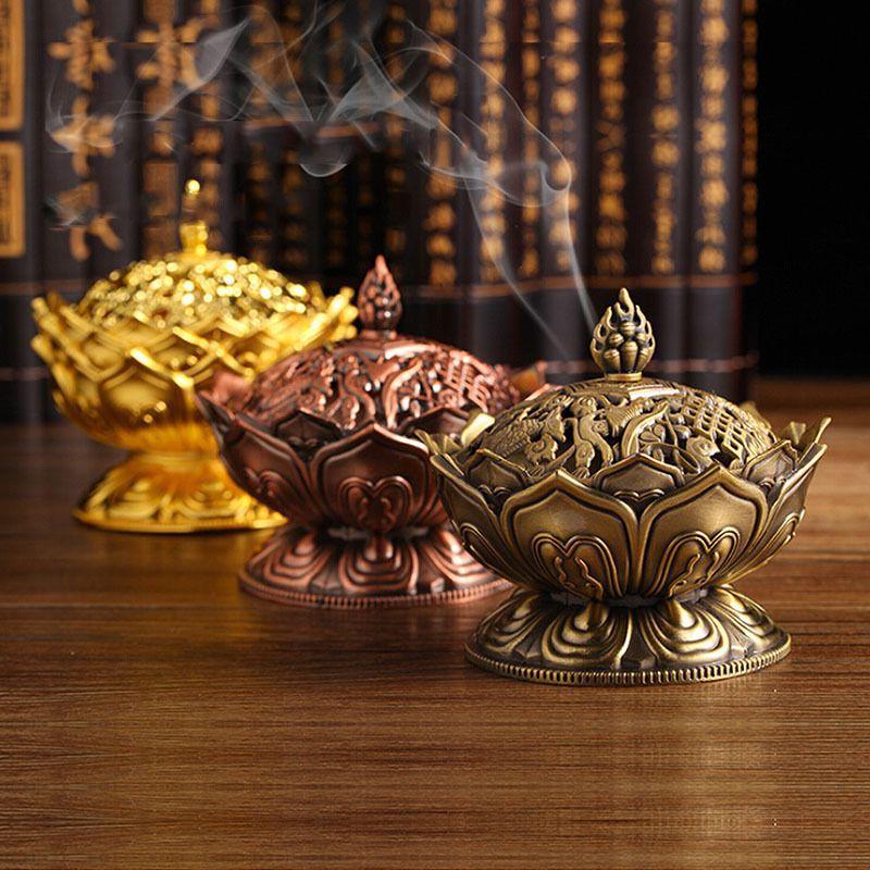 Ev Lotus Çiçek Tütsü Burner Budizm Buddha Tutucu Pirinç Mini Sandal Ağacı Buhurdan Metal Zanaat Dekorasyon
