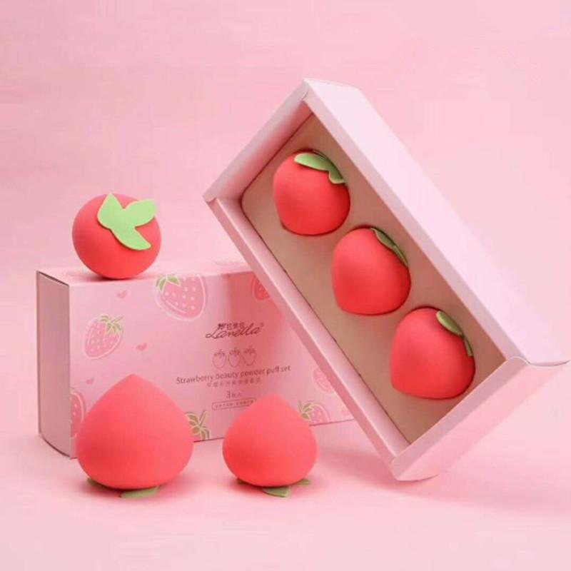 3PCS 메이크업 스폰지 전문 화장품 퍼프 세트 재단 컨실러 크림은 부드러운 귀여운 과일 건조한 및 습식 이중 사용 스폰지를 구성합니다