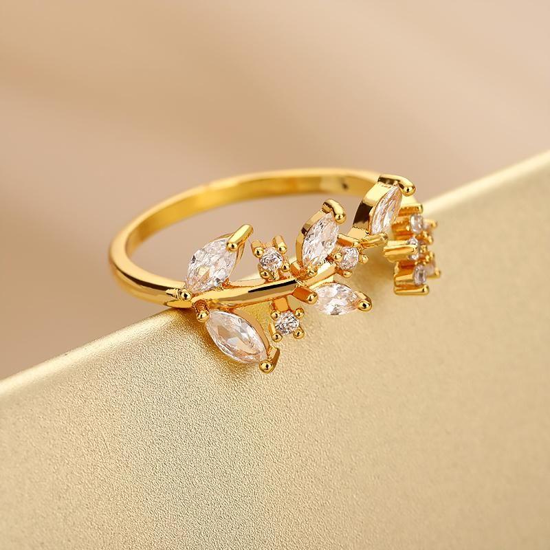 Обручальные кольца Корейский милый циркон хрустальные листья для женщин Регулируемый сладкий стиль звездный кольцо подруги подарок 8 ювелирных изделий
