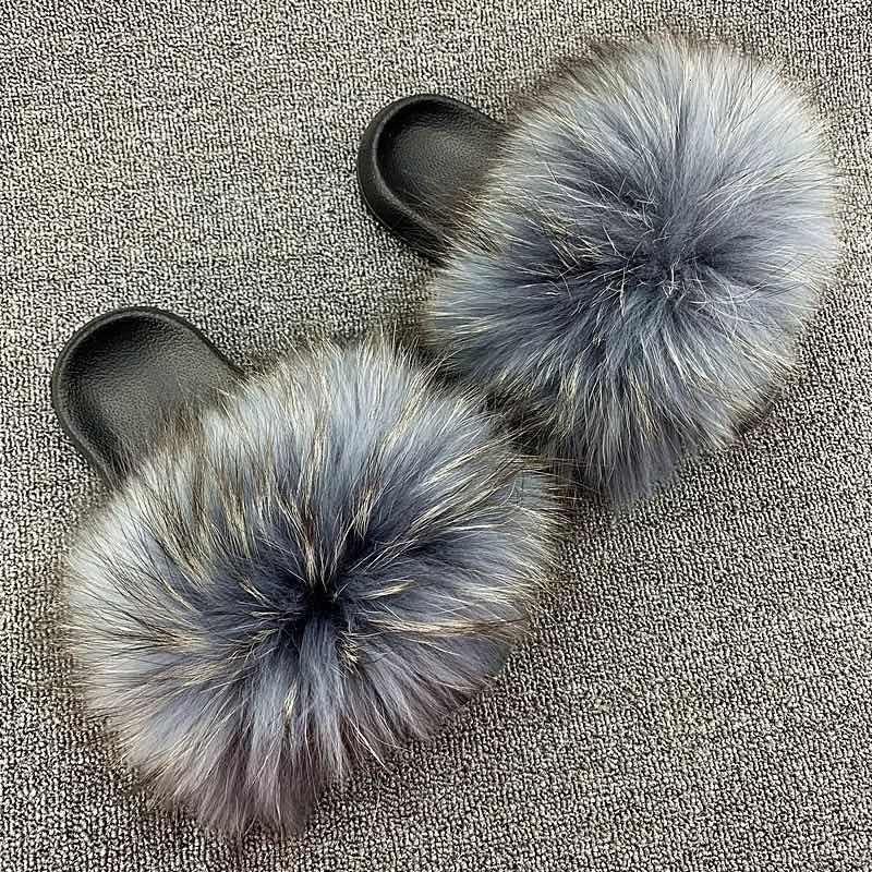 2021 Novo Ffy Raccoon Furry Furry Fur Slides Real Fox Hair Sandals Casual Plana Home Chinelos de Pelúcia Mulher Outdoor Shoes RGC7