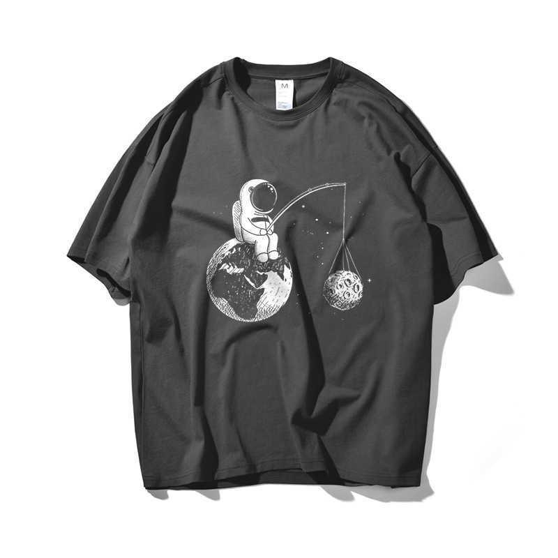 Astronauten Angeln Hip Hop Übergröße T-shirt Männer Streetwear Tshirt Kurzarm Baumwolle Lose Hiphop T-Shirt Paar Sommer 210603