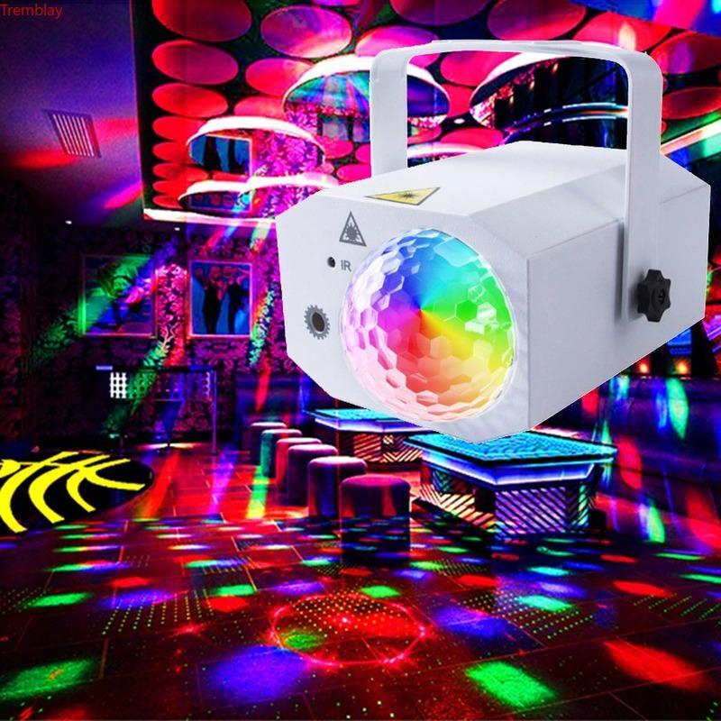 ABS RGB LED 디스코 라이트 마술 볼 파티 사운드 조명 DJ 바 클럽 가라오케에 대 한 레이저 프로젝터 128 패턴 무대 스트로브 조명