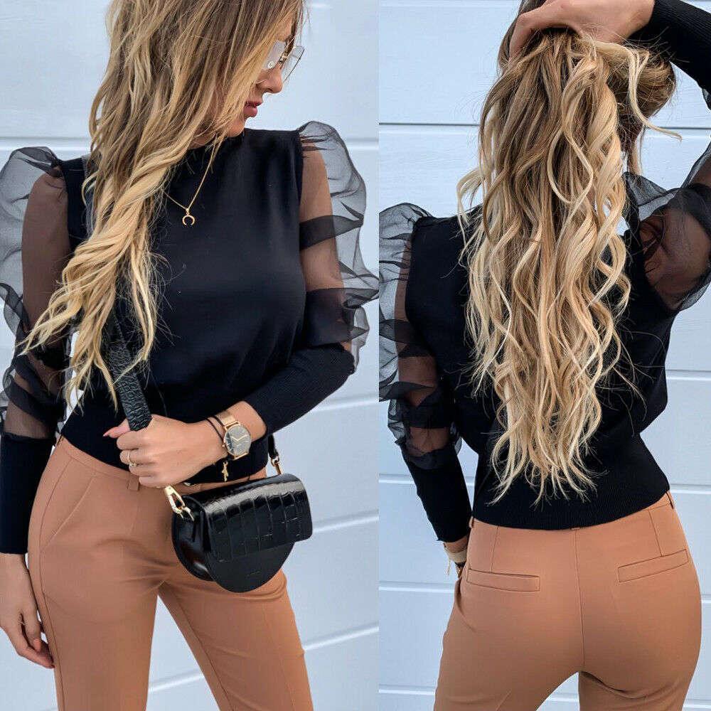 Мода слоеная женская футболка круглые шеи вязание рубашки с длинным рукавом свободные дышащие дамы т