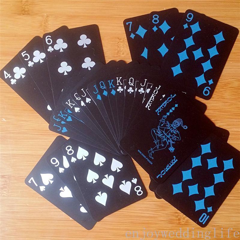 Oyun Kartları Siyah Texas Holdem Klasik Reklam Poker Su Geçirmez PVC Öğütme Dayanıklı Kurulu Rol Oynama Oyunları Magic Card 10 Set