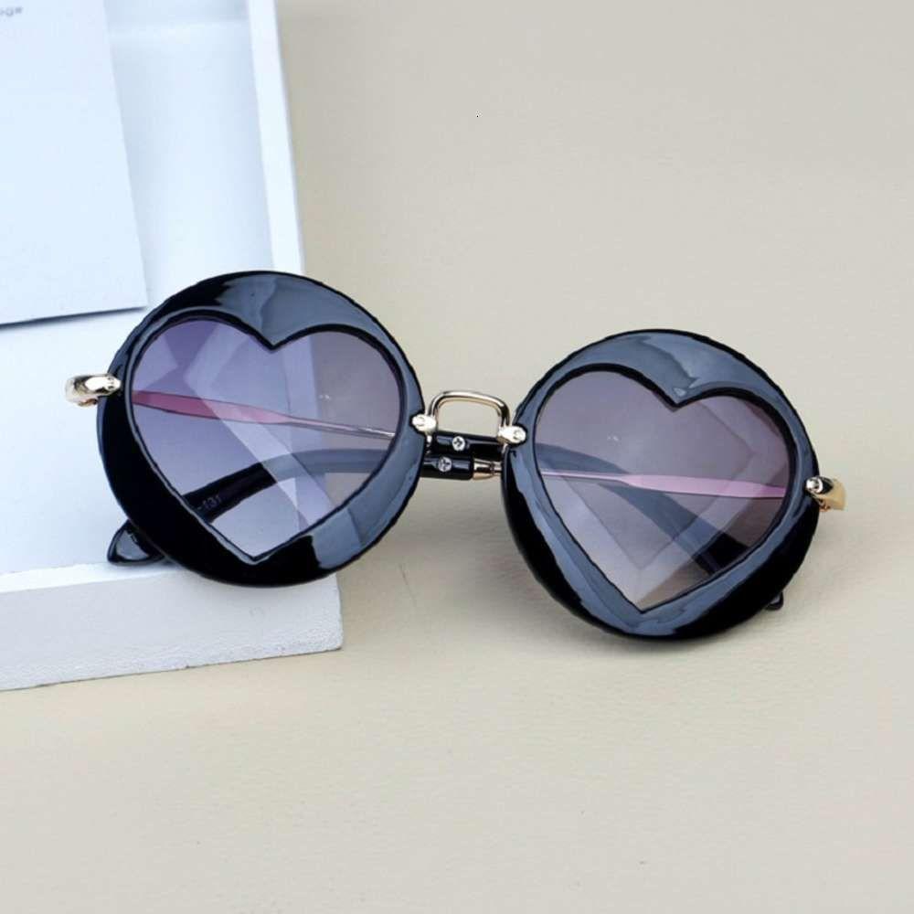 Rahmen Vintage Runde Schöne Herz Linse Kinder Kinder Mode UV400 Mädchen Junge hübsche Brille Sonnenbrille Tönungen Spiegel