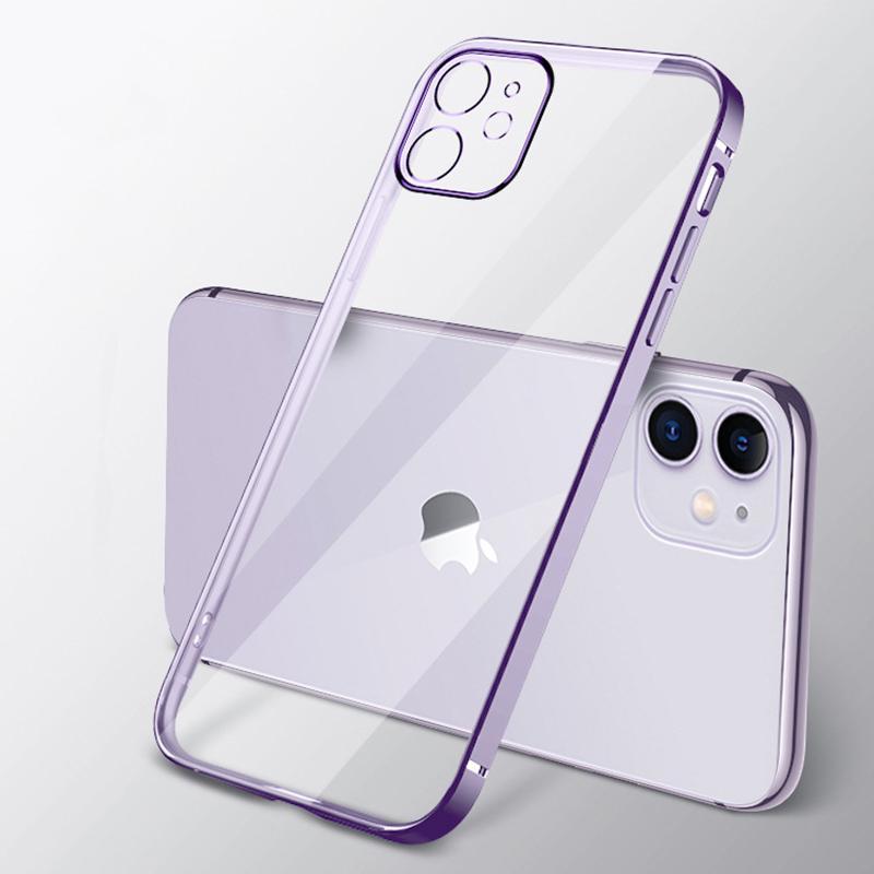 Chapeamento electroplated da lente proteção à prova de choque transparente transparente macio tpu borracha de borracha gel claro capa para iphone 13 pro max 12 mini 11 xs xr x 8 7 6 6s plus