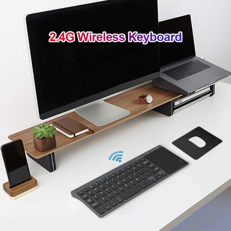 Teclado inalámbrico 2.4GHz Receptor USB 59 Teclado de teclas con toque Numérico Pad Ultrathin PC Mini Bluetooth