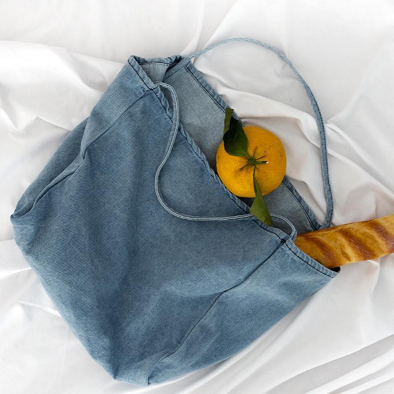 Novo design mulheres denim bolsa de ombro meninas luz azul canvas pano bolsa feminina saco de compras senhora escola livros casuais totes