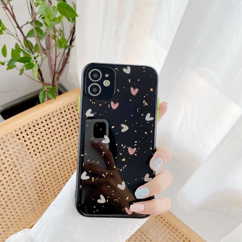 럭셔리 하트 러브 블링 호일 색종이 아이폰 12 11 xs 최대 x 8 7 플러스 스팽글 호일 쉘 플레이크 스팽글 휴대 전화 커버