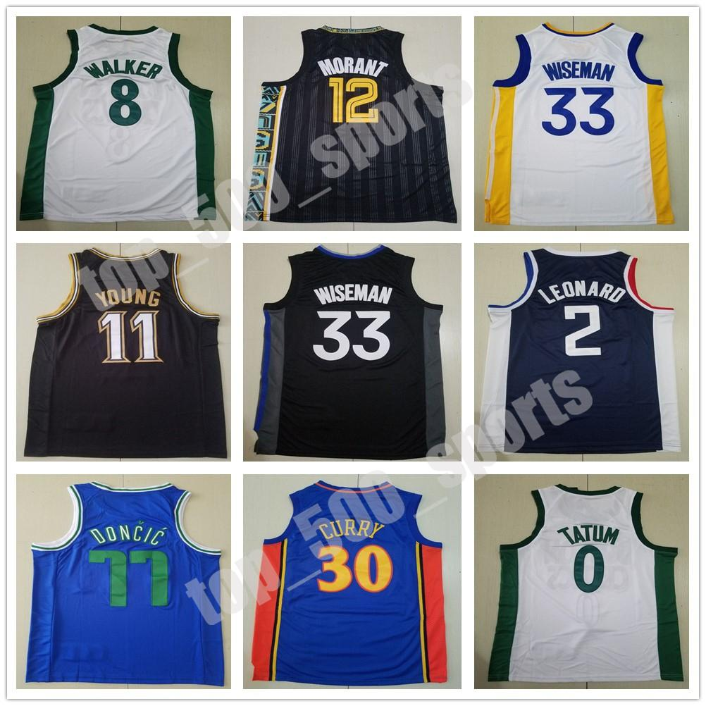 새로운 농구 블루 화이트 스티븐 30 카레 제임스 33 Wiseman Trae 11 Young Ja 12 Morant 77 Doncic 2 Leonard 1 Edwards Jersey