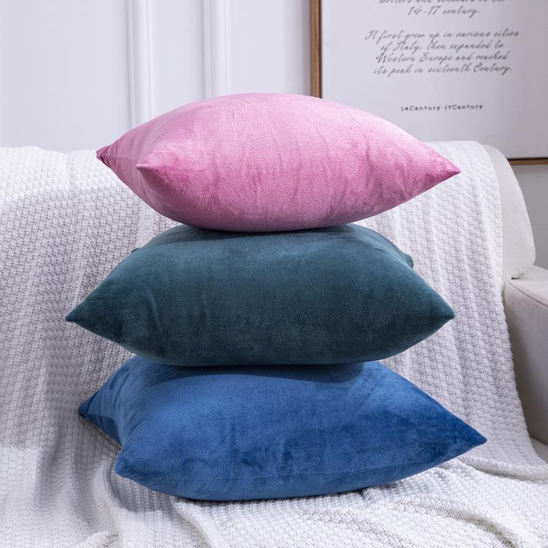 F84 Небольшие свежие облики наволочка вертикальная полоса замшевые подушки для подушки бытовые товары обнять наволочку сплошной цветной подушки крышки ASDF