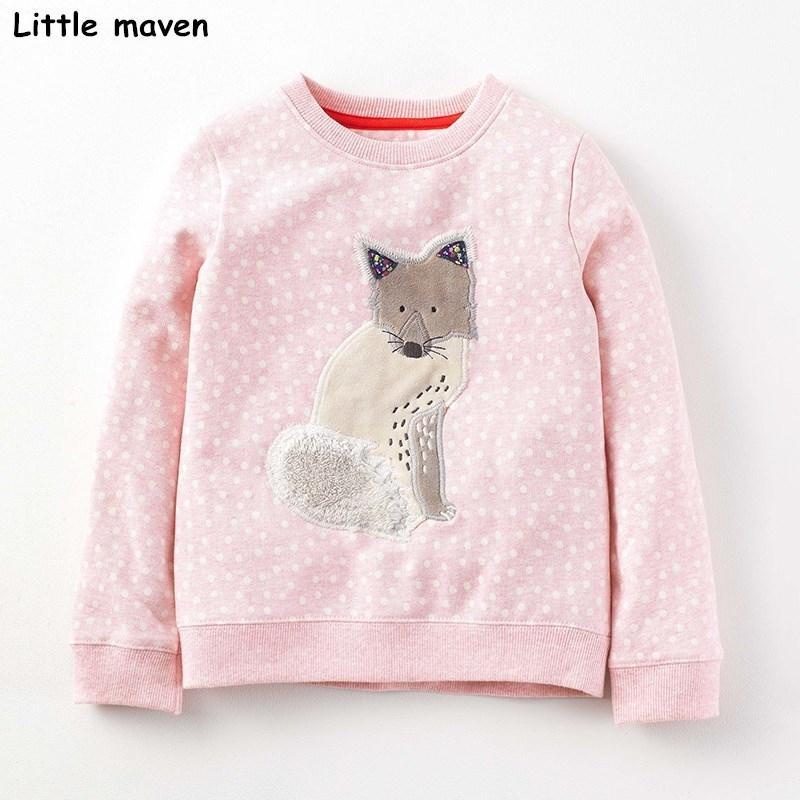 Kleine Maven Kinder Marke Baby Mädchen Kleidung Herbst Neue Design Mädchen Baumwolle Tops Rosa Fuchs Grau Druck T-shirt 210302