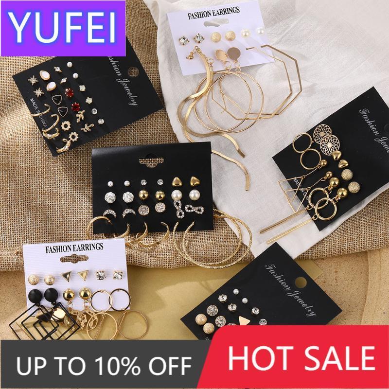 Стад моды женские серьги набор жемчуга кристалл для женщин 2021 бого геометрический круглый цветок кисточка панк ювелирные изделия