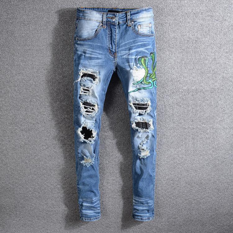 2021 nuovo serpente da uomo ricamo rampino patch in pelle sneak pantaloni ny blue jeans pantaloni sottili taglia 28-40