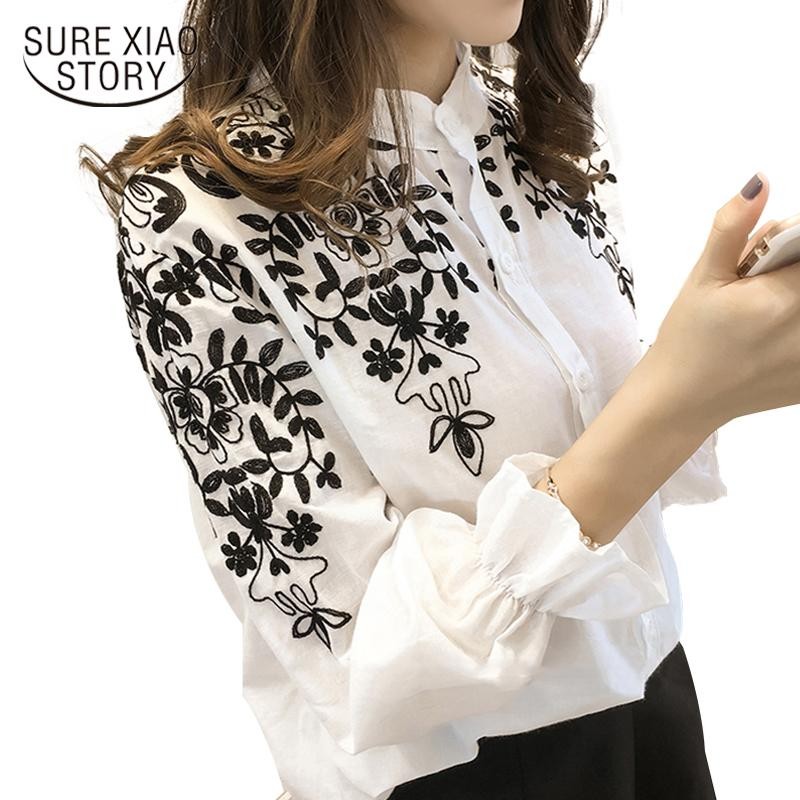 New Arrival 2021 Fashion embroidery womens clothing long Sleeve Casual Women Blouse shirt office lady women tops blusas 529E 30