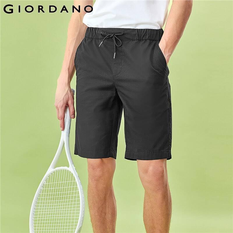 Giordano Hommes Shorts minces Taille élastique Shorts Slant Pocket Soild Stéild Summer Bermuda Masculina 01100339