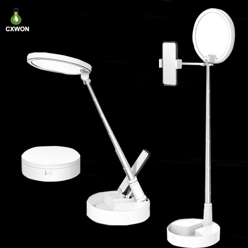 Folding Table Lamp 54LEDs USB Rechargeable Dimmable Office Lamp Wireless Use Touch Button Reading Light Night Light