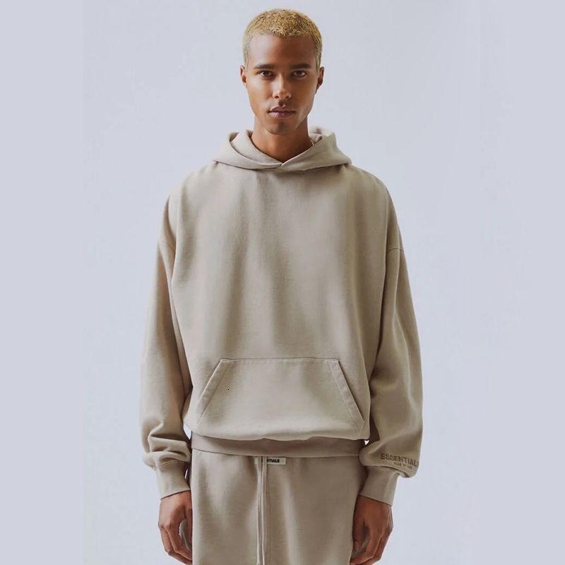 Korku 19ss Tanrı Essentials Nakış Moda Hoodies Sis Yüksek Street Casual Hoodie Kazak Haki Gri Sokak HFLSWY311