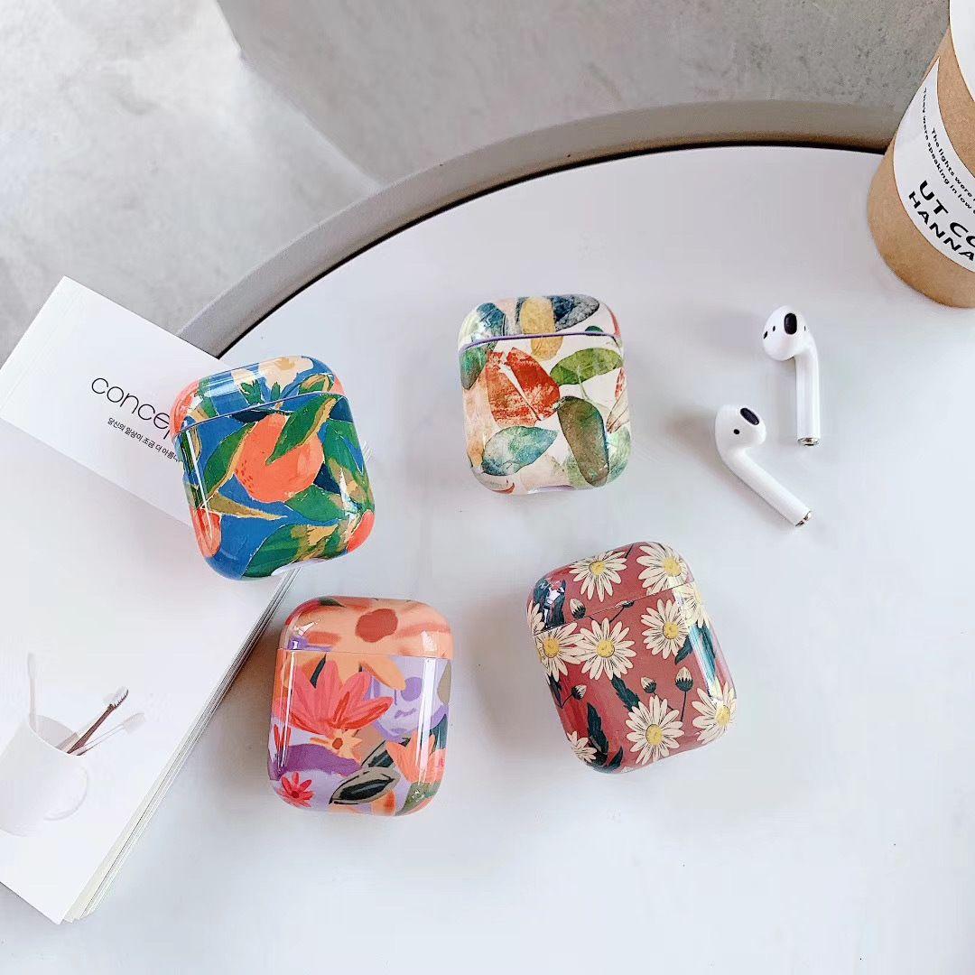 Pintura fone de ouvido casos para Apple Airpods Gen 1 2 Acessórios de Telefone Celular Casos Difíceis Protetor 7 Cores