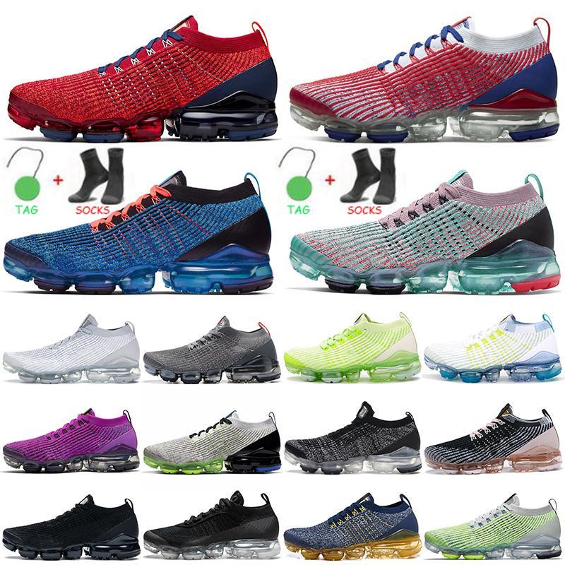 حذاء رياضي Nike Air Vapormax Vapor Flyknit 3.0 Tn Plus للركض TNS للرجال من Flyknit باللون الأبيض والأحمر والأزرق والرمادي وأحذية رياضية للرجال والنساء