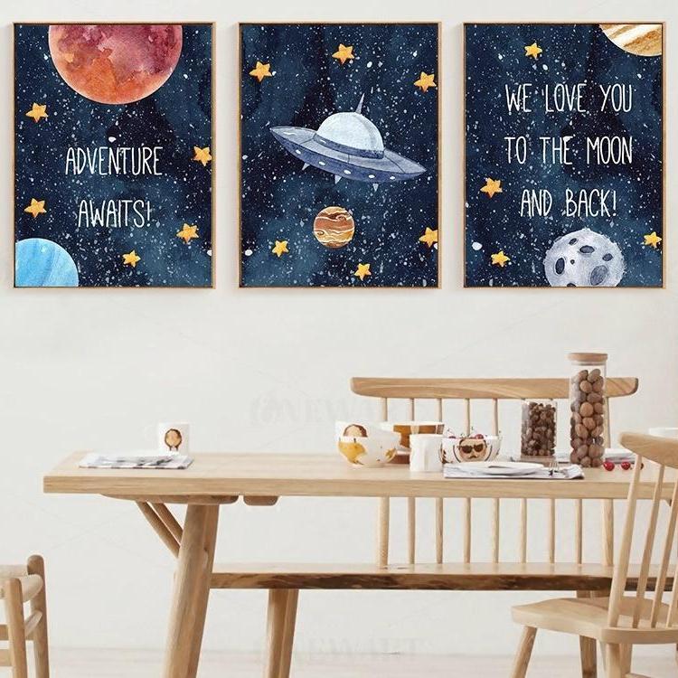 Çocuk Odası Ev Dekorasyon Kreş Dekor Posterler Baskılar Wall Art Resimler Boyama 3 Paneller Karikatür Ay Gezegen Uzay gemisi Tuval