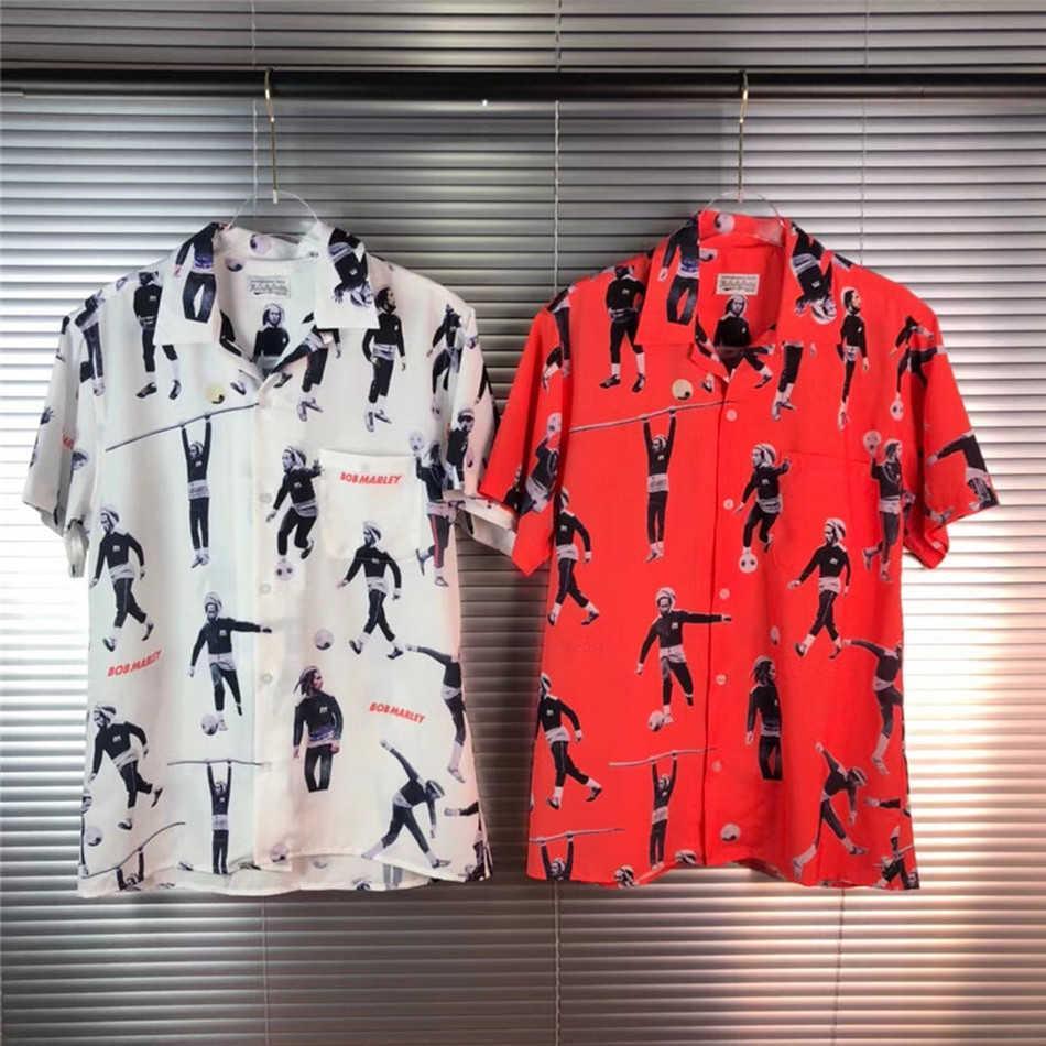 T-shirt das mulheres Qualidade Wacko Maria Homens Mulheres 1: 1 Streetwear Fashion Casual Impressão Digital T-shirt Camisas Hawaiian Camisa 2VZF